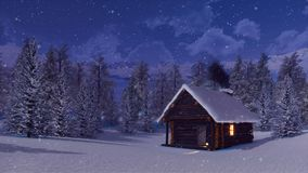 Αποκλεισμένη από τα χιόνια καμπίνα βουνών στη χειμερινή νύχτα χιονοπτώσεων απεικόνιση αποθεμάτων