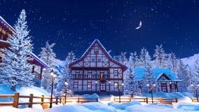 Αποκλεισμένο από τα χιόνια αλπικό ορεινό χωριό στη χειμερινή νύχτα 4K διανυσματική απεικόνιση