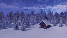 Αποκλεισμένο από τα χιόνια σπίτι στα βουνά στη χιονώδη χειμερινή νύχτα απεικόνιση αποθεμάτων