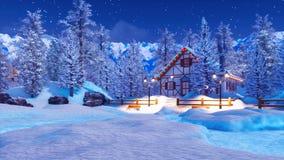 Αποκλεισμένο από τα χιόνια φωτισμένο αλπικό σπίτι στη χειμερινή νύχτα διανυσματική απεικόνιση