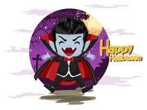 αποκριές ευτυχείς Βαμπίρ Dracula κινούμενων σχεδίων στο υπόβαθρο νύχτας Στοκ Φωτογραφίες
