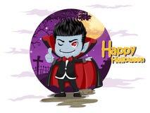 αποκριές ευτυχείς Βαμπίρ Dracula κινούμενων σχεδίων στο υπόβαθρο νύχτας Στοκ Εικόνες