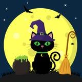 αποκριές ευτυχείς Μια μαύρη γάτα αποκριών σε ένα καπέλο μαγισσών κάθεται ενάντια σε μια πανσέληνο τη νύχτα Επόμενο δοχείο των φίλ διανυσματική απεικόνιση