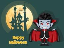 αποκριές ευτυχείς Υπόβαθρο με το κάστρο και το φεγγάρι βαμπίρ Dracula Στοκ Εικόνες