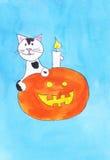 Αποκριές και γάτα Στοκ φωτογραφία με δικαίωμα ελεύθερης χρήσης