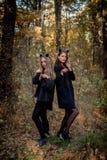 Αποκριές μανιακές και μάγισσα στο δάσος στοκ εικόνες με δικαίωμα ελεύθερης χρήσης