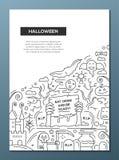 Αποκριές - πρότυπο αφισών φυλλάδιων σχεδίου γραμμών A4 Στοκ Εικόνες