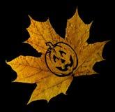 Αποκριές, φύλλα σφενδάμου μειώνονται με ένα εικονίδιο κολοκύθας σε ένα υπόβαθρο στοκ φωτογραφίες με δικαίωμα ελεύθερης χρήσης