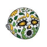 αποκριές Emoji Hushed ημέρα νεκρή Dia de Los Muertos επίσης corel σύρετε το διάνυσμα απεικόνισης Στοκ Φωτογραφία