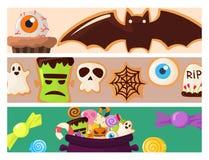 Αποκριών διανυσματική απεικόνιση καραμελών κέικ μπισκότων καρτών φυλλάδιων γλυκών κομμάτων ζωηρόχρωμη cupcakes Στοκ Φωτογραφία