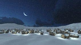 Αποκλεισμένο από τα χιόνια χωριό στη χειμερινή νύχτα χιονοπτώσεων Στοκ Εικόνες