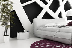 Αποκλειστική κρεβατοκάμαρα σχεδίου   τρισδιάστατη εσωτερική αρχιτεκτονική Στοκ Εικόνες