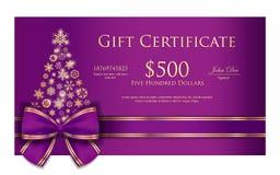 Αποκλειστικό πιστοποιητικό δώρων Χριστουγέννων με το πορφυρό ρ Στοκ εικόνα με δικαίωμα ελεύθερης χρήσης