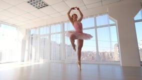 Απολαυστικός θηλυκός χορευτής μπαλέτου στο ρόδινο tutu που ασκεί και που χαμογελά φιλμ μικρού μήκους