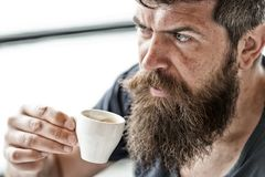 Απολαύστε το ζεστό ποτό Καφές κατανάλωσης Hipster υπαίθριος Άτομο με τη γενειάδα και mustache και το φλιτζάνι του καφέ Γενειοφόρο στοκ εικόνες