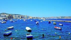 Απολαύστε το θέρετρο Bugibba, Μάλτα απόθεμα βίντεο