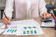 Απολογισμοί επιχειρησιακών γυναικών και στοιχεία ανάλυσης για τον εγχώριο προϋπολογισμό Στοκ Εικόνες
