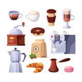 Απομονωμένα διάνυσμα εικονίδια καφετεριών Στοιχεία σχεδίου επιλογών προγευμάτων καφέδων ή εστιατορίων απεικόνιση αποθεμάτων