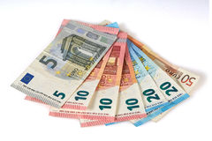 Απομονωμένα ευρωπαϊκά ευρο- τραπεζογραμμάτια στο άσπρο υπόβαθρο στοκ φωτογραφίες
