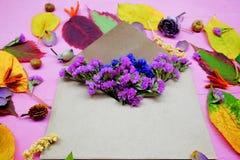Απομονωμένα ζωηρόχρωμα φύλλα φθινοπώρου με τα λουλούδια και φάκελος στο πορφυρό υπόβαθρο Στοκ φωτογραφίες με δικαίωμα ελεύθερης χρήσης
