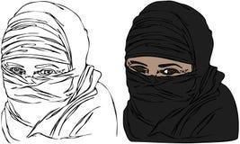 Απομονωμένα διανύσματα των θηλυκών ματιών που φορούν το πέπλο Headscarf Στοκ εικόνες με δικαίωμα ελεύθερης χρήσης