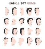 Απομονωμένα κεφάλια των ατόμων με τις διαφορετικές εκφράσεις του προσώπου Τα άτομα αντιμετωπίζουν Στοκ εικόνες με δικαίωμα ελεύθερης χρήσης