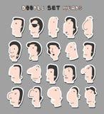 Απομονωμένα κεφάλια των ατόμων με τις διαφορετικές εκφράσεις του προσώπου Τα άτομα αντιμετωπίζουν Στοκ φωτογραφία με δικαίωμα ελεύθερης χρήσης