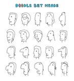 Απομονωμένα κεφάλια των ατόμων με τις διαφορετικές εκφράσεις του προσώπου Τα άτομα αντιμετωπίζουν Στοκ Εικόνα