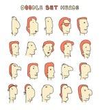 Απομονωμένα κεφάλια των ατόμων με τις διαφορετικές εκφράσεις του προσώπου Τα άτομα αντιμετωπίζουν Στοκ Φωτογραφίες