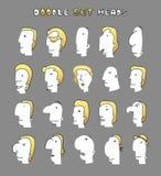 Απομονωμένα κεφάλια των ατόμων με τις διαφορετικές εκφράσεις του προσώπου Τα άτομα αντιμετωπίζουν Στοκ Φωτογραφία