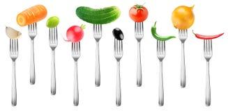 Απομονωμένα λαχανικά στα δίκρανα στοκ εικόνες