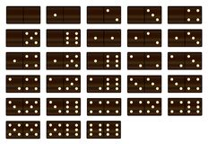 Απομονωμένα μαύρα ξύλινα ντόμινο καθορισμένα Στοκ Εικόνες