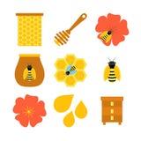 Απομονωμένα μελισσοκομία αντικείμενα μελισσών μελιού στο λευκό Στοκ Εικόνες