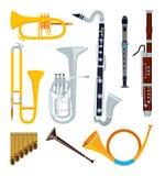 Απομονωμένα μουσικά όργανα στο ύφος κινούμενων σχεδίων ελεύθερη απεικόνιση δικαιώματος