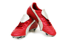 απομονωμένα ποδόσφαιρο παπούτσια Στοκ Εικόνες
