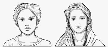 Απομονωμένα πορτρέτα ισπανικά και νοτιοανατολικά ασιατικά κορίτσι στο χρώμα Στοκ Εικόνες