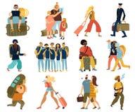 Απομονωμένα ταξίδια εικονίδια ανθρώπων καθορισμένα ελεύθερη απεικόνιση δικαιώματος