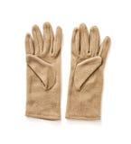 Απομονωμένα υφαντικά γάντια των γυναικών, γυναικεία μόδα Στοκ Εικόνες
