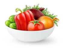 Απομονωμένα φρέσκα λαχανικά σε ένα κύπελλο στοκ εικόνα