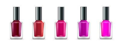 Απομονωμένα χρώματα μπουκαλιών γυαλιού καρφιών στιλβωτική ουσία Ρεαλιστικά εμπορευματοκιβώτια χρωμάτων μανικιούρ ομορφιάς Καλλυντ Στοκ εικόνα με δικαίωμα ελεύθερης χρήσης