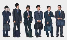 Απομονωμένες απεικονίσεις των νέων ασιατικών εργαζομένων γραφείων που φορούν τα κοστούμια στο χρώμα Στοκ φωτογραφία με δικαίωμα ελεύθερης χρήσης