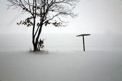 απομονωμένες παραλία χιονοπτώσεις Στοκ Εικόνα