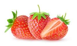 απομονωμένες φράουλες τρία στοκ φωτογραφίες με δικαίωμα ελεύθερης χρήσης