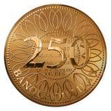 Απομονωμένες χρυσές διακόσιες πενήντα λίβρες νομισμάτων από το Λίβανο Στοκ φωτογραφία με δικαίωμα ελεύθερης χρήσης
