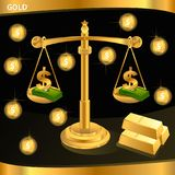 Απομονωμένες χρυσές κλίμακες δικαιοσύνης Νομική απεικόνιση συμβόλων στοκ φωτογραφίες με δικαίωμα ελεύθερης χρήσης