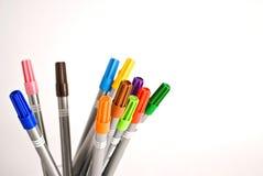 απομονωμένες χρώμα πέννες Στοκ Φωτογραφίες