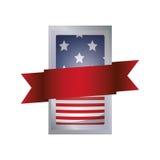 Απομονωμένη αμερικανική σημαία μέσα στο σχέδιο πλαισίων Στοκ Εικόνες