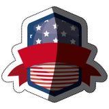 Απομονωμένη αμερικανική σημαία μέσα στο σχέδιο πλαισίων Στοκ Φωτογραφία