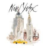 Απομονωμένη απεικόνιση Νέα Υόρκη σχεδίων χεριών Έννοια Watercolor διανυσματική απεικόνιση