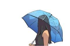 Απομονωμένη απεικόνιση της νέας ομπρέλας εκμετάλλευσης γυναικών στη βροχή και το κοίταγμα προς τα πίσω Στοκ Εικόνες